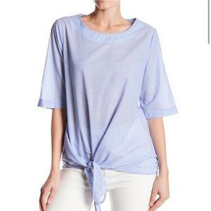 NWOT Pleione Striped Tie front 100% cotton blouse